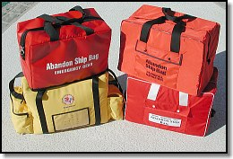 Four commercially available Abandon Ship bags