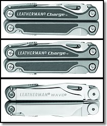 New Leatherman Charge Ti, Charge XTi and Wave (top to bottom)